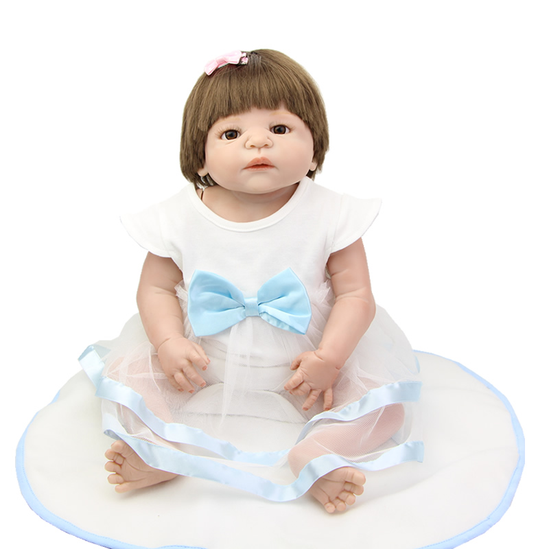 цена на 23 Inch Lifelike Full Body Silicone Reborn Baby Dolls Girl Realistic 57 cm New Born Babies Doll For Children Birthday Gifts