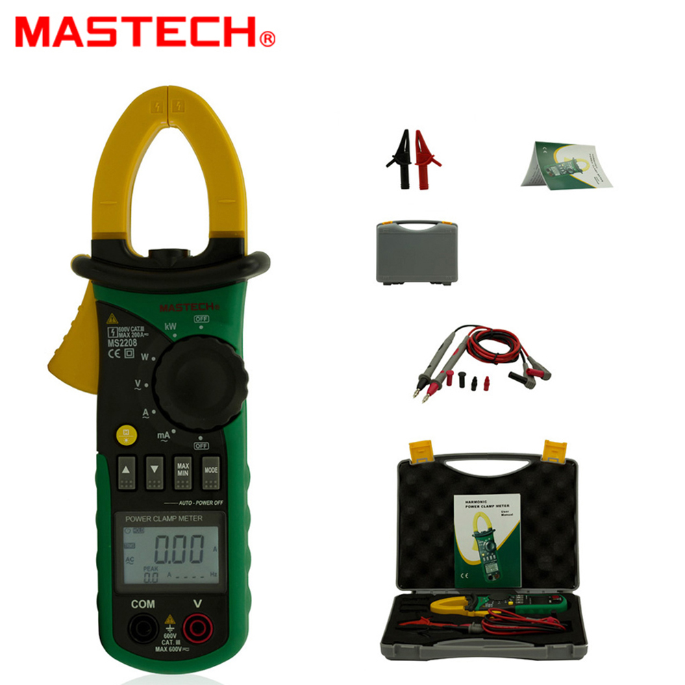 Mastech MS2208 6000 counts Harmonic Power Clamp Meter Tester Multimeter Trms Voltage Current Power Phase Angle Test
