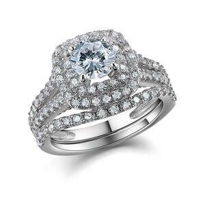 Image 2 - Newshe 2 Pcs Solide 925 Sterling Silber frauen Hochzeit Ring Sets Viktorianischen Stil Blau Seite Steine Klassische Schmuck Für frauen