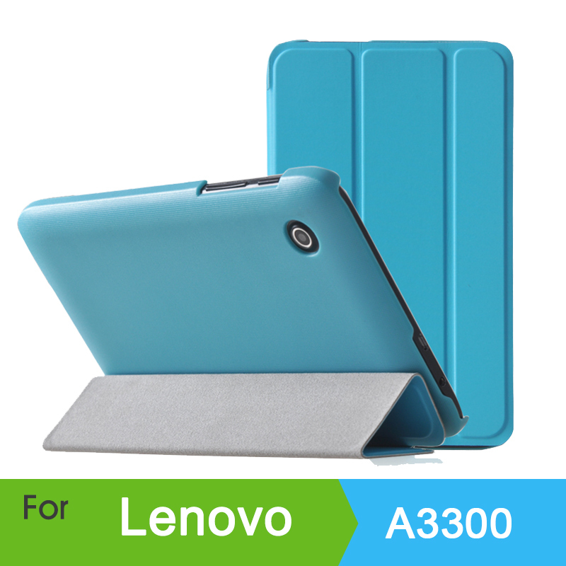 Original Buiness Slim Smart Cover Lenovo A3300 3 Foldable Stand Leather Case 7 inch Tablet - HK GX-Tech Co.,Ltd store