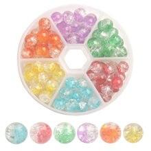 Toptan Satış 90 adet/kutu Karışık Renkler 8mm çatlaklı cam Boncuk Takı Yapımı için (6 Renk)