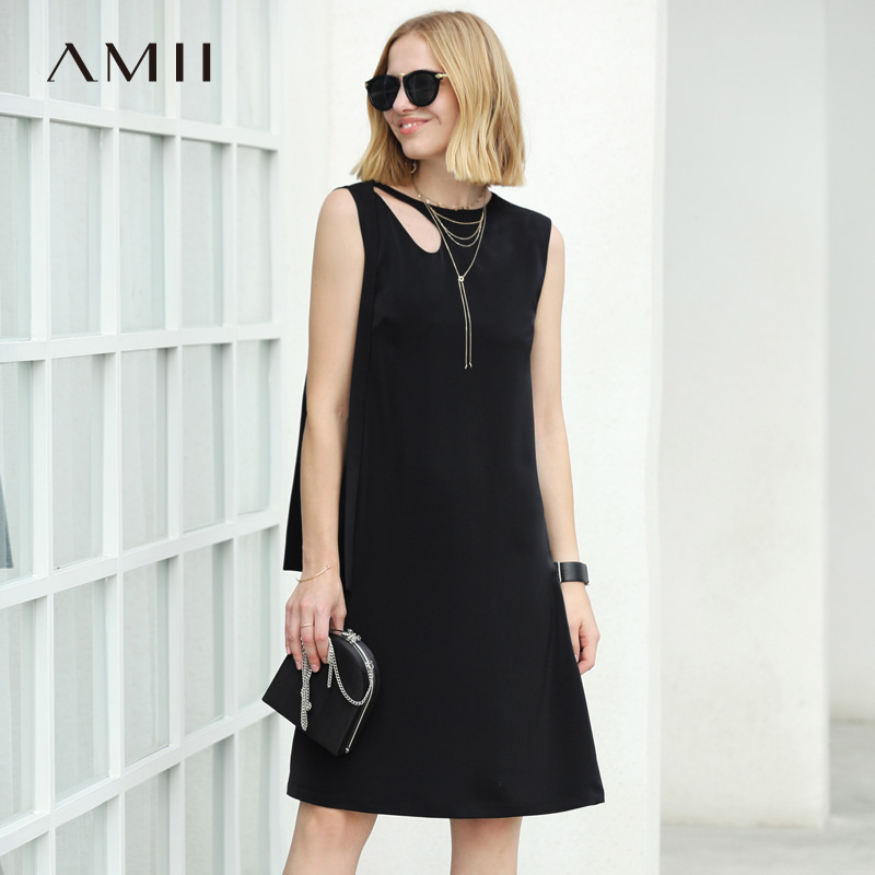 Amii Women Minimalist Summer Dress 2018 Office Lady Solid Hollow Out Straight Female Dresses