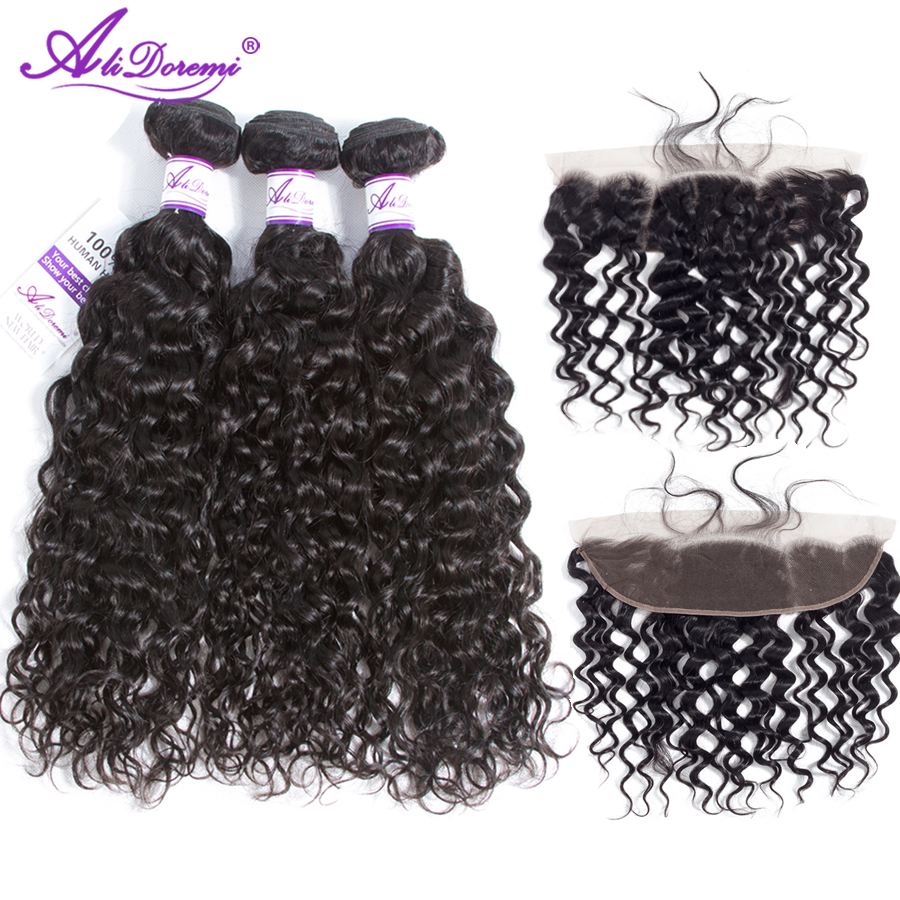 Alidoremi peruvian water wave with baby hair 3 Bundles With Lace Frontal Closure Hair Weave Bundles
