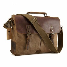 2017 Handmade Men Canvas font b Leather b font Tote 15 6 Laptop Bags Hobo Padded