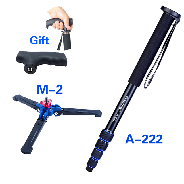 "Manbily 65"" Aluminum fiber DSLR Unipod Monopod Manbily Walking Stick Flip Lock w Camera Tripod Stand for Canon Nikon Sony Gopro"