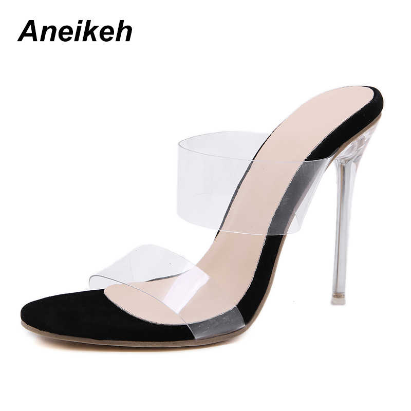 1dfbe6393b Aneikeh 2018 PVC Jelly Sandals Open Toe High Heels Women Transparent Perspex  Slippers Shoes Heel Clear