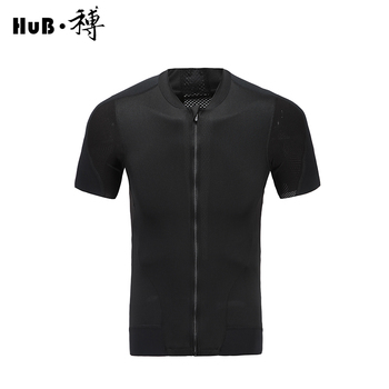 HuB Professional Cycling Jersey Sports Short Sleeve MTB Bicycle Clothing Quick drying Breahtable Zipper Racing Bicycle Clothes