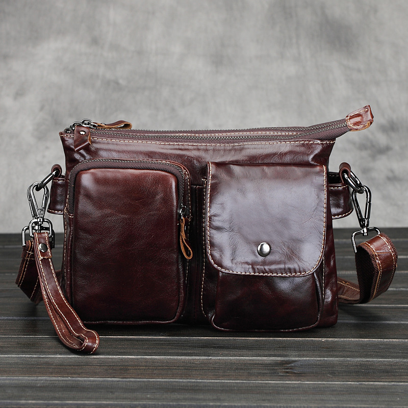 new Brand New Oil Waxed Genuine Leather Burgundy Mens Leisure Shoulder Sling Bags Travel Business Small Messenger Zipper Bag