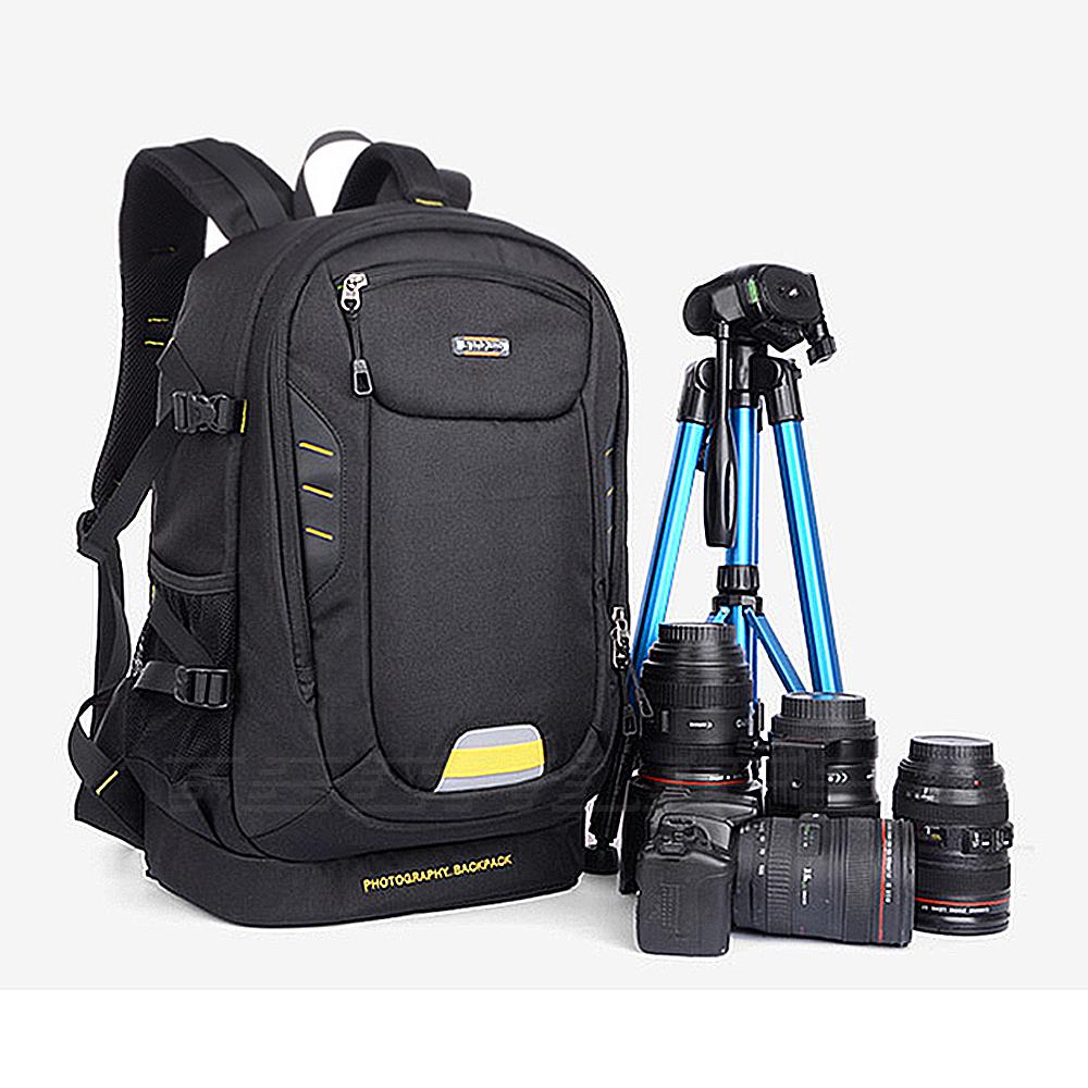 Prix pour La photographie REFLEX NUMÉRIQUE Caméra Sac À Dos avec Rembourré insérer Diviseurs Trépied Support pour canon 5d 7d 6d nikon d7200 d40 d5300 sony a7 27