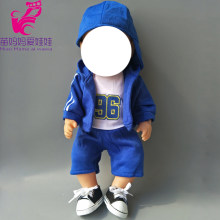 4 in 1 set Sport Clothes + shirt + Pants + baseball cap set for 43cm Baby new Born Doll girl for 18 inch doll clothes set(China)