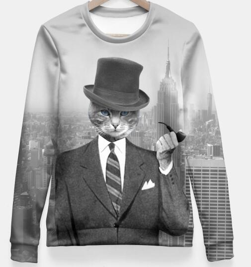 Spring Autumn High Quality 3D Print Sweatshirt City Cat Hooded Suit professional anchor Pullover Tumblr Clothing Unisex Tops
