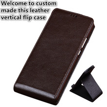 ZD02 Genuine Leather Flip Cover Case For OnePlus 7 Pro(6.67′) Vertical flip Phone Up and Down Leather Cover phone Case
