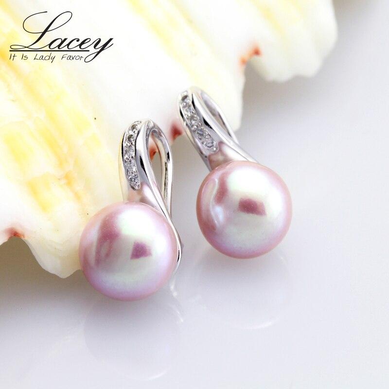 Słodkowodne prawdziwe kolczyki dla kobiet, kolczyki ze srebra próby - Wykwintna biżuteria - Zdjęcie 4