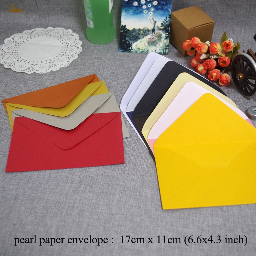 50pcs lxw 17x11cm luxury pearl paper envelopes postcards greeting 2020 50 fandeluxe Image collections