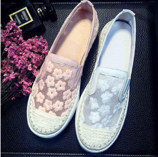 ФОТО 2016 European Fashion Design Women Lace Flat Shoes Plus Size Flower Embroidery Wedding Flat Shoes Genuine Leather Summer Shoes