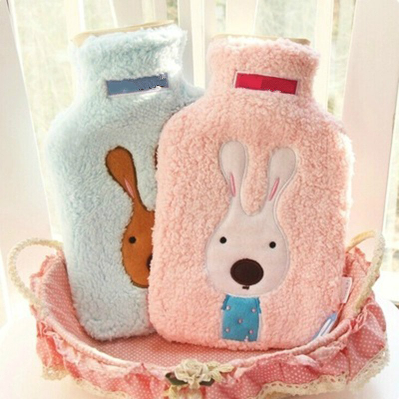 Newcomdigi Creative Cute Cartoon Rabbit Hot Water Bottle Bag Safe and Reliable Rubber Wa ...