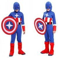 Children Christmas Boys Halloween Costumes Girls Anime Cosplay Carnival Captain America Costume For Kids Fancy Shield
