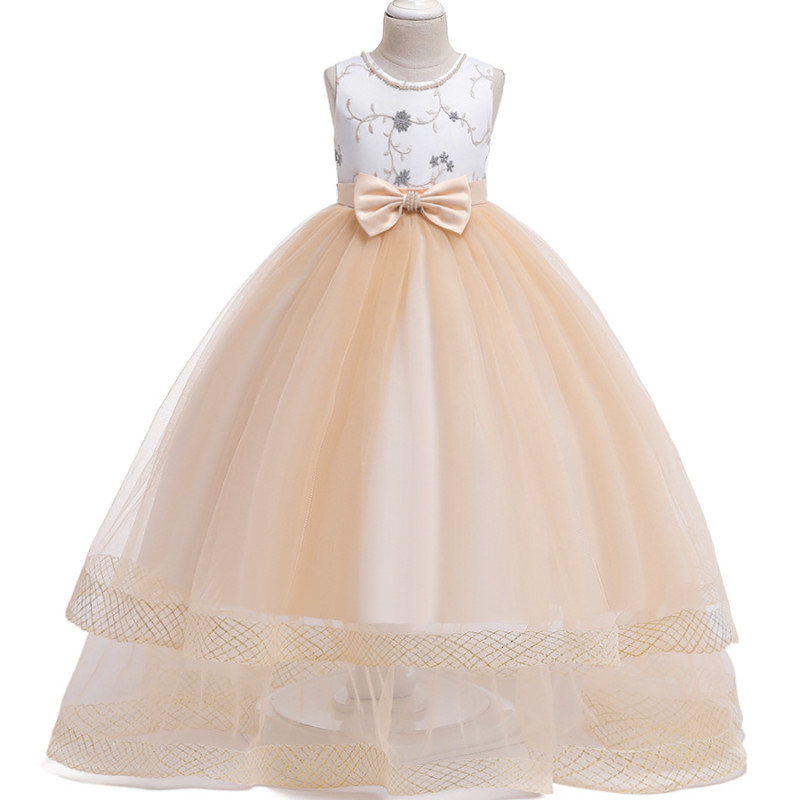 2019 Summer Kids Long   dress     Girls   Wedding   flower     girl     dress   Beaded Embroidered Bow Princess   Dress   Party Teenagers Clothes