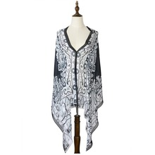 women kaftan beach dress summer cover up silk georgette bikini capes wraps amice cappa tippet long V neck