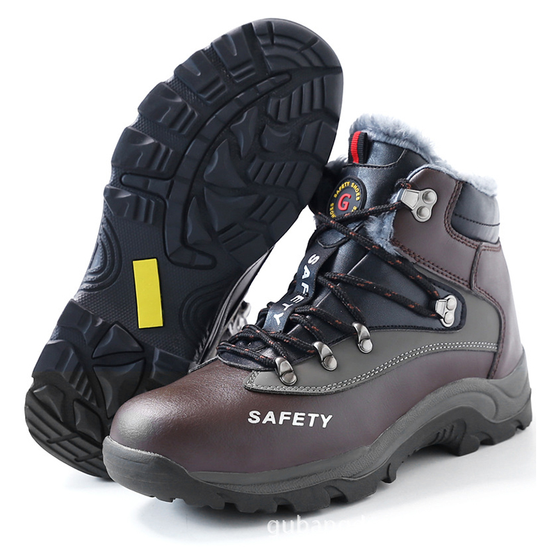 Plus cotton safety shoes mens steel Baotou puncture high help work boots wear comfortable winter and four season models lisse