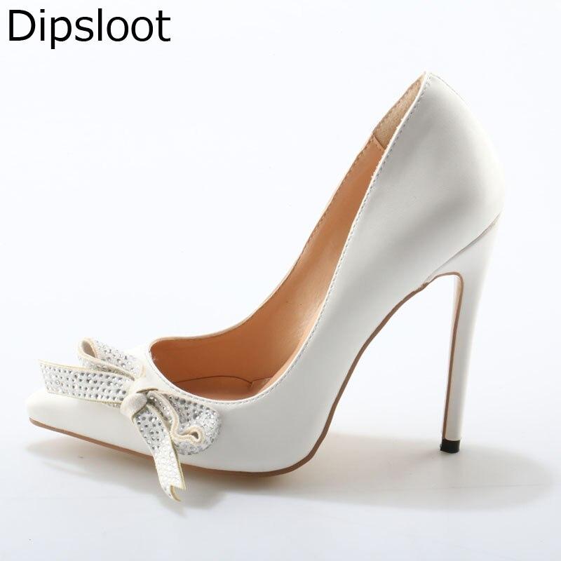 Mariée Papillon Cuir Pointu De 46 Stiletto En black White Chaussures Dames Femmes Bowtie Cristal Décor Noeud Ue Bout Talon Brillant Sexy Forage Pompes qzTaPxt