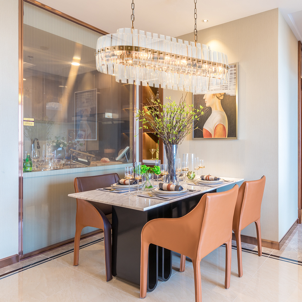Luxury modern chandelier lighting for dining room rectangle crystal light fixture kitchen island chain chandeliers cristal lamps