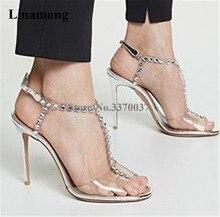 Newest Women Fashion Peep Toe PVC Plaid Beaded T-strap Stiletto Heel Sandals Rhinestone Silver High Wedding Heels
