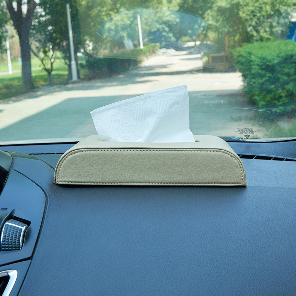 Car Tissue Box Container Automobile Interior Accessories Organizer Rectangular Tissue Box Cover Holder 1 Pcs