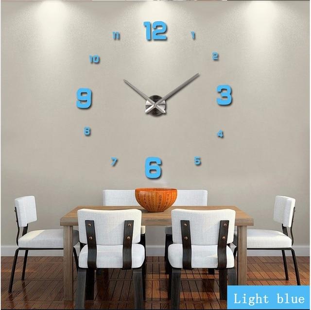 2019 new arrival 3d real big wall clock modern design rushed Quartz clocks fashion watches mirror sticker diy living room decor 5
