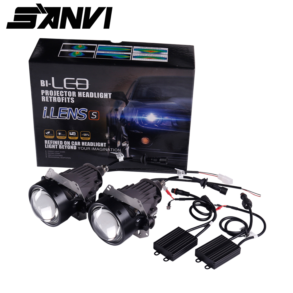 Livraison gratuite 2 pcs Sanvi 35 w 5500 k Haute Qualité 3 pouces Super Lumineux Auto Bi LED Projecteur Lentille phare De Voiture lumière Remplacement