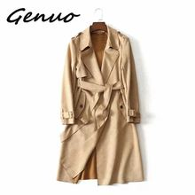 Genuo New 2019 Women Classic Solid Long Trench Coat Female Doube Breasted Sashes England Style Turn-down Collar Outerwear