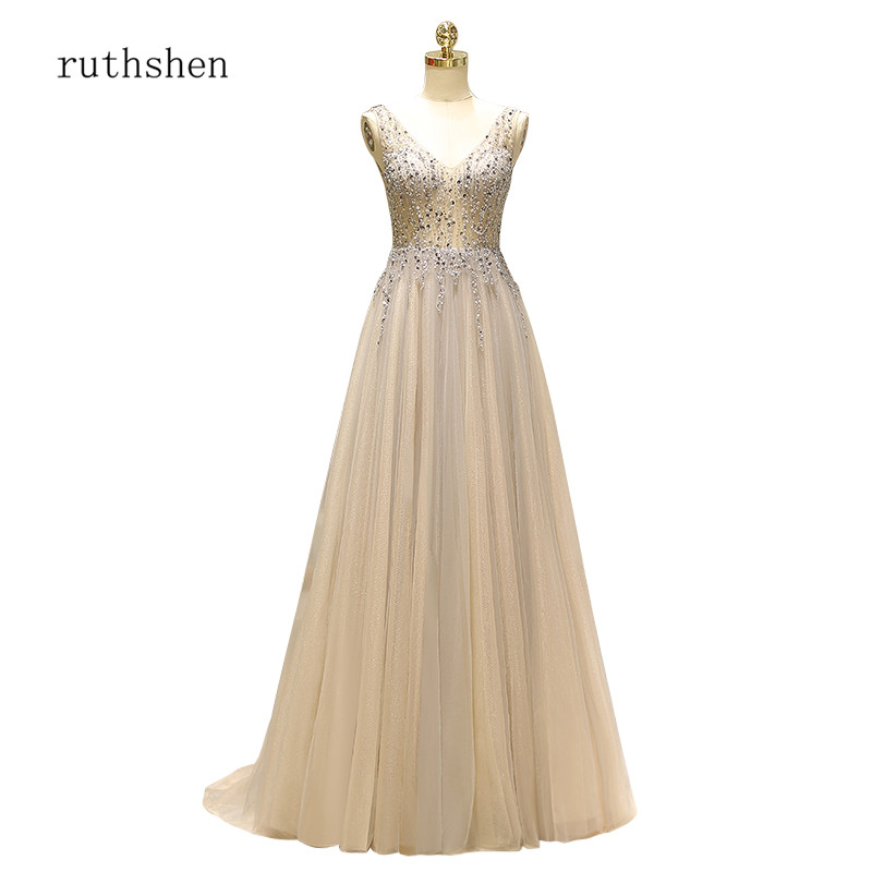 ruthshen 2018 New Elegant   Prom     Dresses   Formal Party   Dress   V-Neck Diamonds Beading Floor Length Vestido De Formatura Gowns
