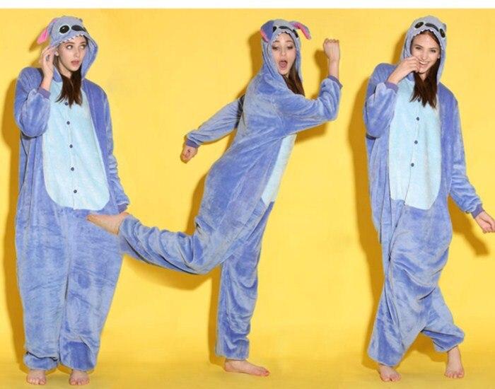 Wholesale Cartoon Animal Blue Stitch Onesies Onesie Pajamas  Jumpsuit  Hoodies Sleepwear  for Adults for Halloween