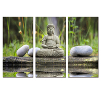 New Design Modern Art Buddha Painting on Canvas for Home Decoration (Unframed) 30x60cmx3