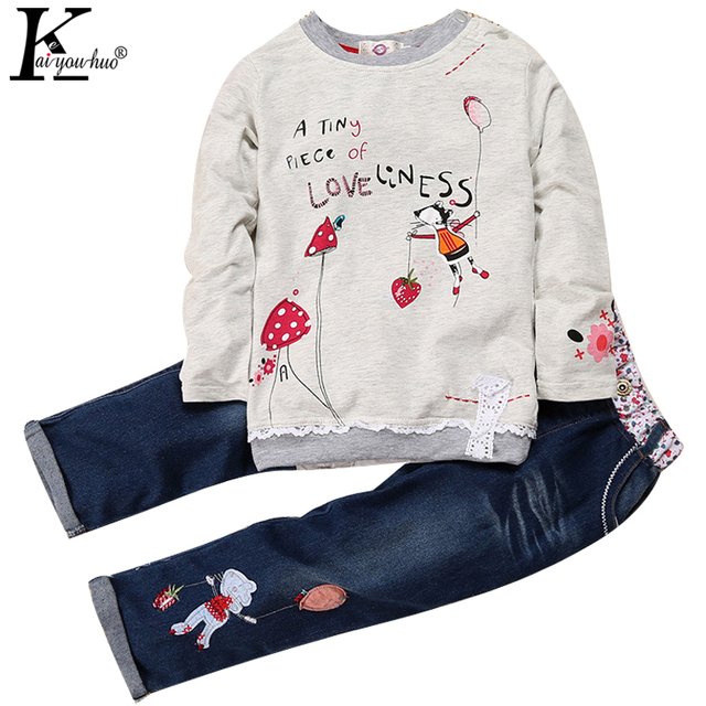 Children Clothing Sets Spring Autumn Cute Girls Beautiful Long Sleeve Jeans Outfit Cartoon Cotton Kids Clothes Boy Sport Suit