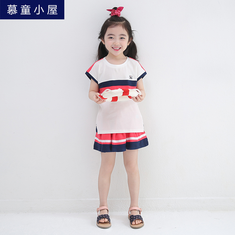 Children girls sport summer clothing set  Cotton skirt and t-shirt for girls 2 3 4 5 6 7 8 9 10 11 12 years old girls clothes