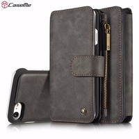 CaseMe Genuine Leather Magnetic Hand Bag Case For IPhone 7 7Plus 7 Plus Multi Functional Stand