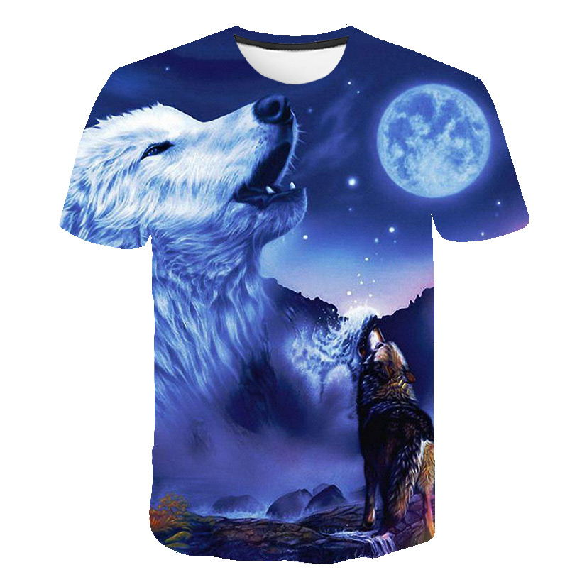 Youth 3D Printed Fantasy Wolf Howling Under The Moon Casual T-Shirt Short Sleeve for Kids Creative Graphic Design Summer Tee