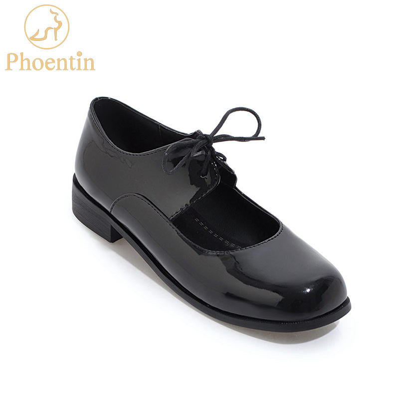 Phoentin black lolita shoes 2019 new square toe mary jane shoes for women patent leather lace-up low heeled white shoes FT482Phoentin black lolita shoes 2019 new square toe mary jane shoes for women patent leather lace-up low heeled white shoes FT482