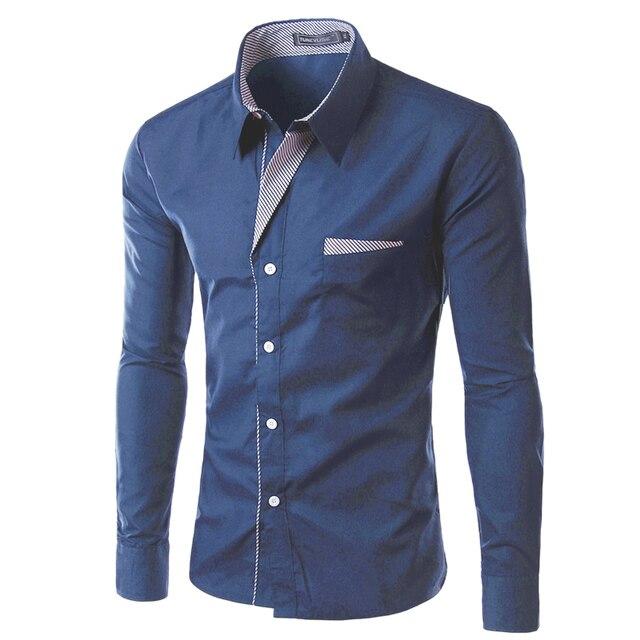 2017 Новая Мода Марка Camisa Masculina Длинным Рукавом Рубашки Мужчины корейской Slim Дизайн Формальное Casual Male Рубашка Размер M-4XL 8012