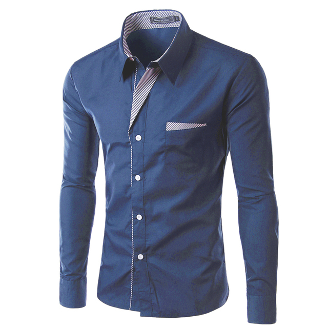 2017 New Fashion Brand Camisa Masculina Long Sleeve Shirt Men Korean Slim Design Formal Casual Male Dress Shirt Size M-4XL 8012