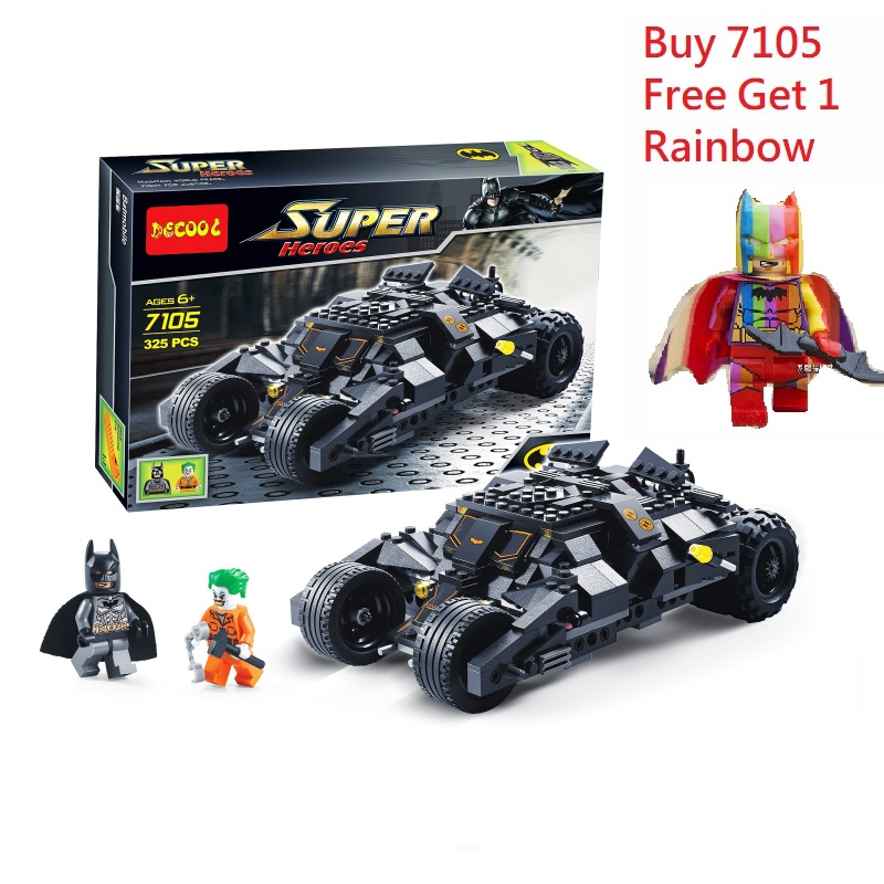 Decool 7105 325+pcs Batman The Tumbler Batmobile Joker Super Heroes Blocks Marvel Toy FIT for Lego movie for minifigure technic decool 7105 dc super heroes batman the tumbler building block brick tank toys for children boy game gift compatible lepin bela