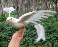Large 25x50cm White Feathers Spreading Wings Phoenix Bird Artifical Bird Handicraft Garden Decoration Toy Gift A1970