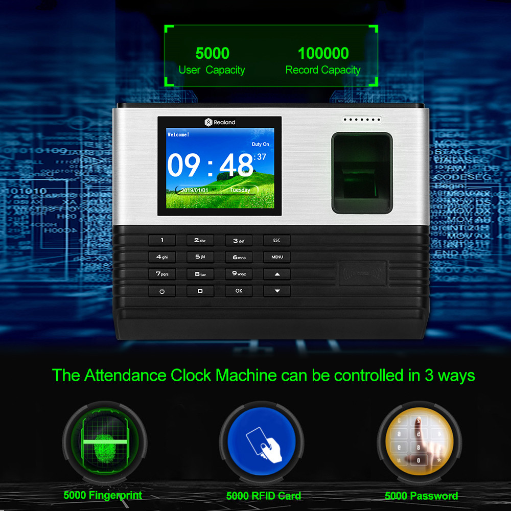 Image 3 - Realand 2.8inch TCP/IP Wifi RFID Biometric Fingerprint Time Attendance System Machine Employee Office Fingerprint USB Time Clock-in Fingerprint Recognition Device from Security & Protection