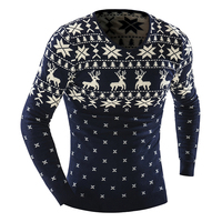 New 2017 Men S Fashion Animal Print Sweater Men Leisure Slim V Neck Long Sleeved Solid