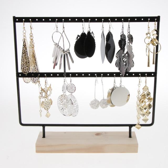 Phenovo 24/44 Trous Boucles D'oreilles En Bois Organisateur Porte-Bijoux Collier Bracelet Rack 2 Couches Bijoux Présentoir Bijoux Emballage