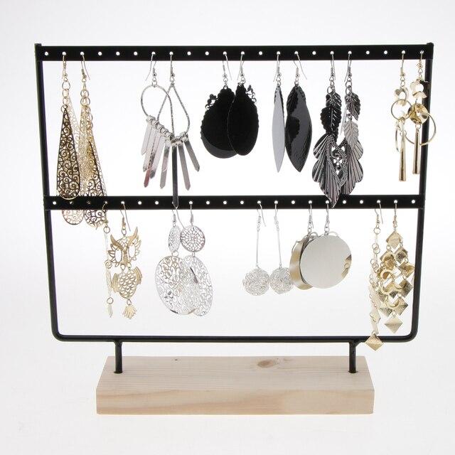 Phenovo 24/44 trous bois boucles d'oreilles organisateur porte-bijoux collier Bracelet Rack 2 couches bijoux présentoir bijoux emballage