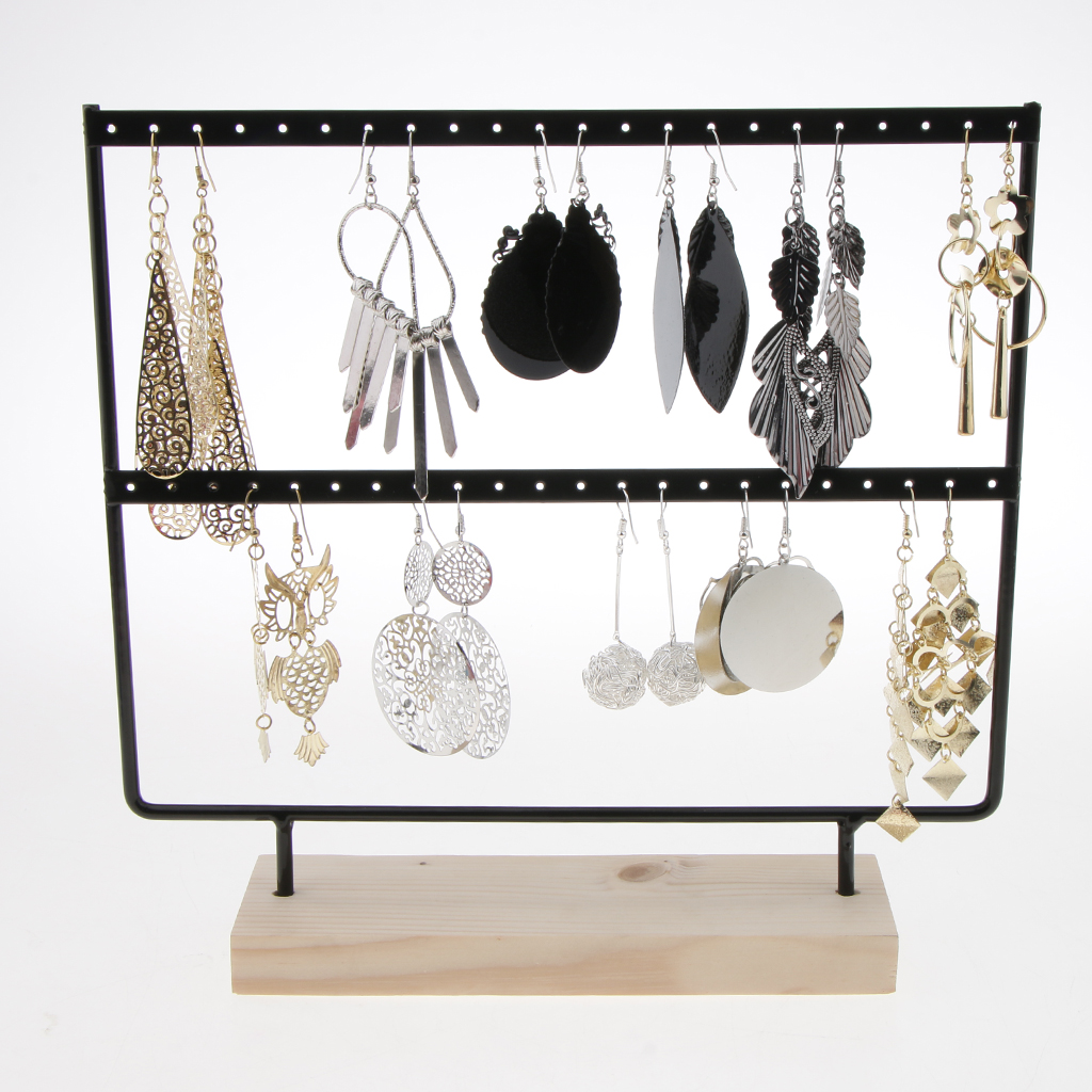 Phenovo Wood 24/44 Holes Earrings Organizer Holder Necklaces 2 layers Jewelry Display Stand Jewelry accessories статуэтка jewelry stand 2