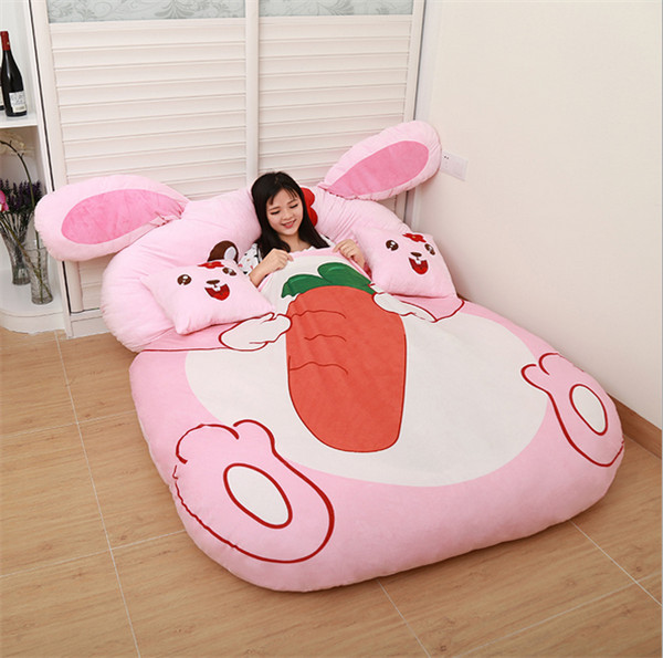 Fancytrader Giant Plush  Bunny Cow Tiger  Pig Horse Sheep Cartoon Animals Tatami Stuffed Soft Beanbag Bed Carpet Mat Sofa fancytrader 150cm lovely plush soft cartoon rabbit toy stuffed giant 59 animal bunny nice lover gift