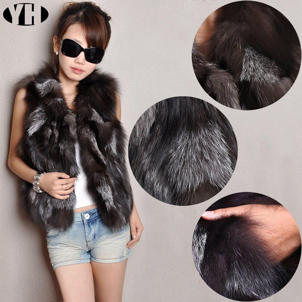 Lady Fox Fur Gilet Real Fur Short Women Natural Winter Feminino Genuine fur vest Female Real short fur vest colete de inverno-in Real Fur from Women's Clothing    1
